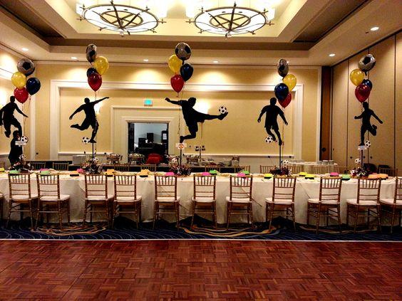 Balloon centerpiece bar mitzvah soccer silhouette ben s