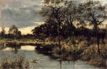 Arvid Mauritz Lindström (1849-1923): Lake landscape, evening glow