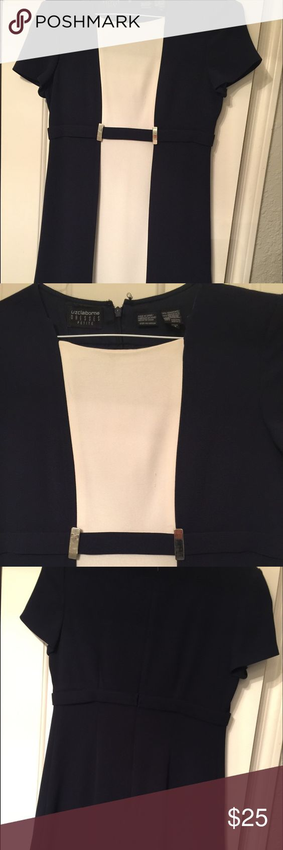 Women's navy blue dress This is a navy blue and white size 8 petite dress that zips up in the back Liz Claiborne Dresses Midi