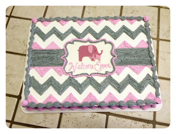 A pink and gray chevron sheet cake The Great Cakery