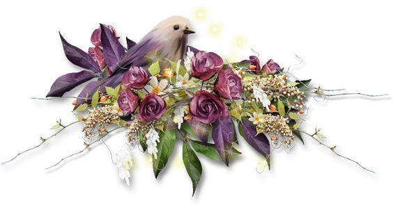 Ave en nido de flores - png para scrapbooking: