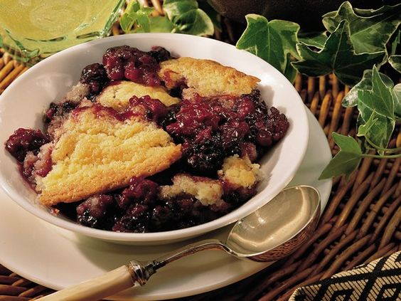 Blackberry Cobbler.. homemade using berries from my dad's blackberry bushes. Baking.. can't wait till dessert time!!!