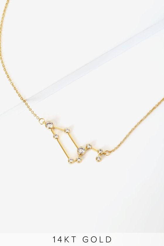 When Stars Align 14kt Gold Constellation Leo Necklace Leo Necklace 14kt Gold Constellation Necklace