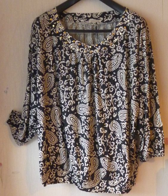 Lady Top Black Ivory Paisley Floral Batwing Blouse Smock Embellished Tunic 22 24 | eBay