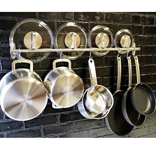 Saves Space On The Countertop Rail Measures 31 5 Long Set Includes 10 Hooks Each 2 3 4 Height Wall Mount Ki Kitchen Utensil Rack Kitchen Hooks Kitchen Pans