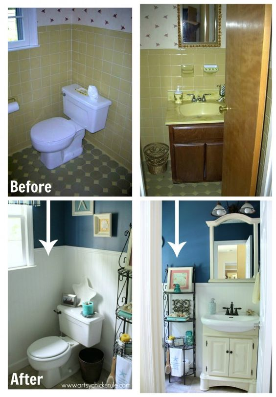 Guest bath makeover on a budget before after two tones artsy and house Cheap bathroom remodel before and after