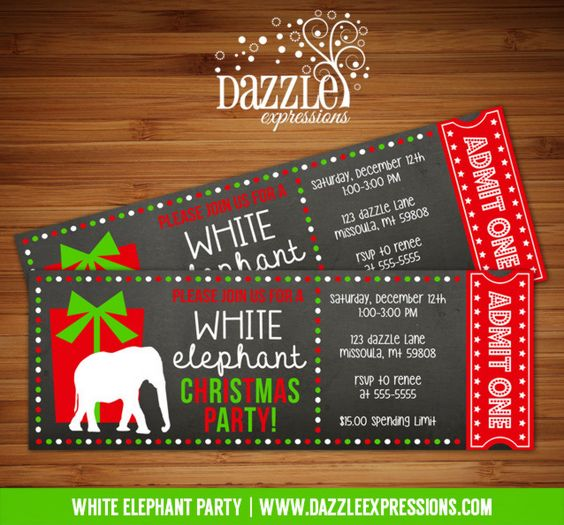 Christmas Party Ticket Template Free: White Elephant Party Banner
