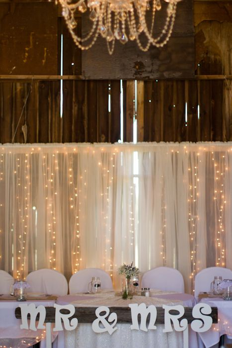 Lowell Michigan Country Barn Wedding Head Table Decorations