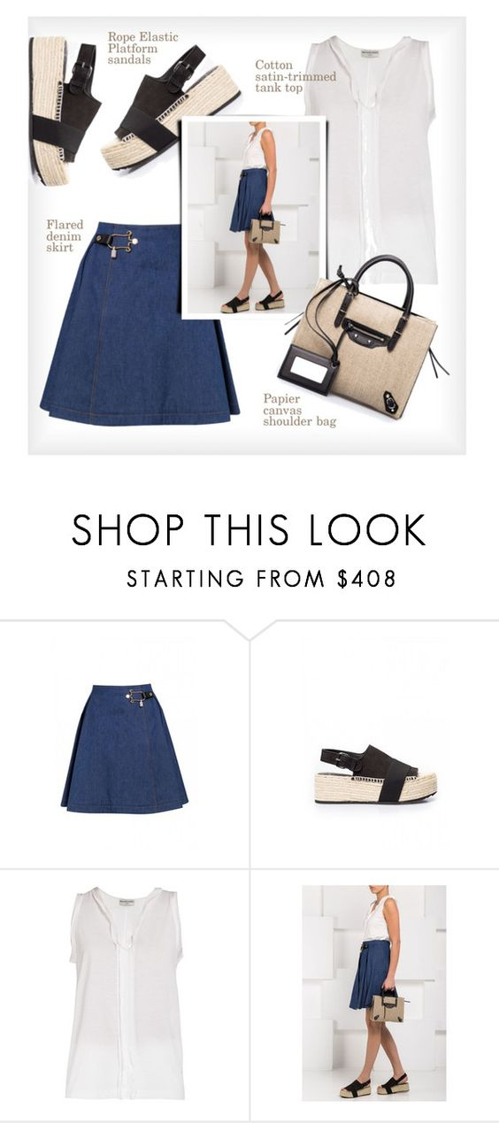 """""""Balenciaga"""" by firstboutique ❤ liked on Polyvore featuring Balenciaga and denimskirt"""