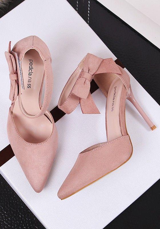 Rosa Punkt Zehe Stilett Bogen Klett Mode High Heels Sandalen Fashion High Heels Heels Shoes