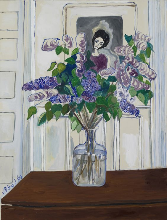 "Lilacs by Alice Neel, 1983, oil on canvas, 127 x 96,5 cm (50 x 38"") 