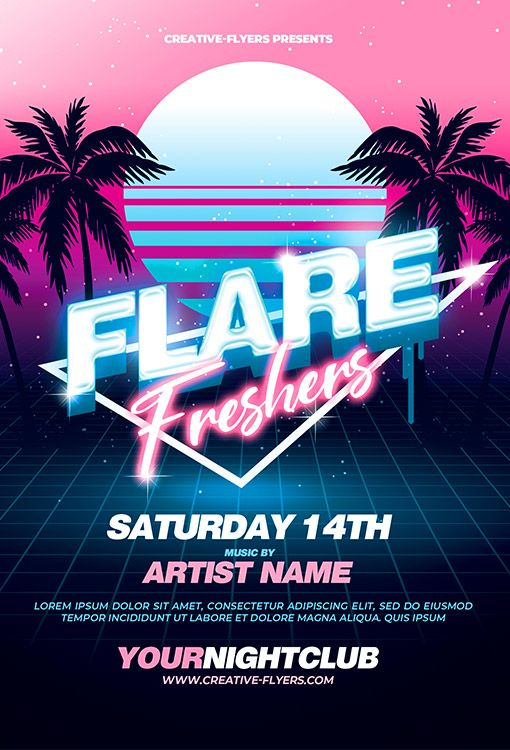 Retro 80 S Club Flyer Template Photoshop Psd Creativeflyers In 2020 Flyer And Poster Design Club Flyers Promotional Design