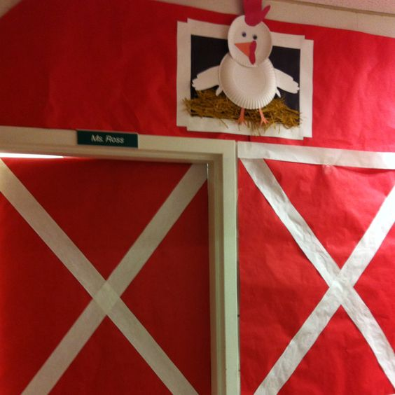 Classroom door for farm theme classroom doors and for Farm door ideas