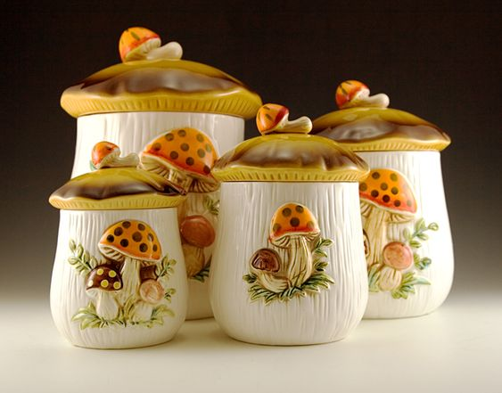 Set Of Sears And Roebuck Mushroom Canisters And Napkin
