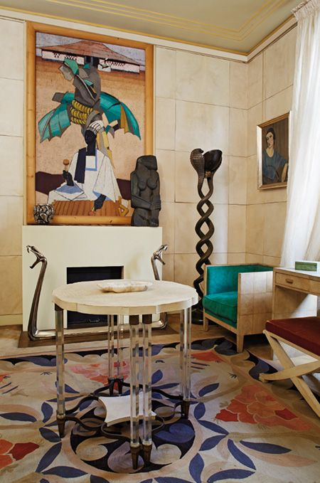 Madame Marcilhac's office, including pieces by Marcel Coard, Edouard-Marcel Sandoz, Jean-Michel Frank and Ernest Boiceau. Via Sotheby's
