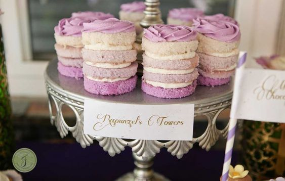 """Mini Purple Ombre Cakelets. """"Rapunzel's Towers"""" Boy friendly Princess Birthday Party Inspired by Disney's Tangled – THE DECOR AND DESSERTS » Jackie Culmer Photography"""