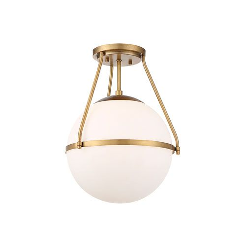 251 First Nicollet Natural Brass One Light Semi Flush Mount With