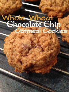 Whole Wheat Chocolate Chip Oatmeal Cookies