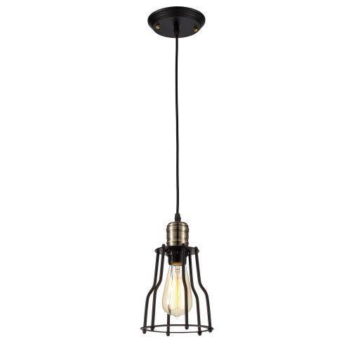 Wire Cage Ceiling Pendant Light Fixture - Bulb Included, Matte Black/Antique Brass