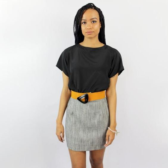 VINTAGE 90s heathered grey petite mini skirt / business attire / petite skirt / petite clothing / mi