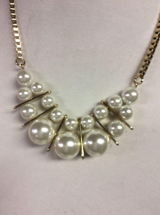 "Women Necklace Vera Wang Bib Pearls Gold Plated 16"" Adj | eBay"