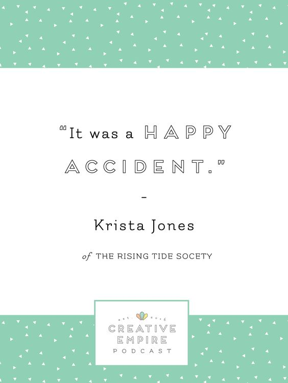 This week's Creative Empire Podcast guest is Rising Tide Society's co-founder, Krista Jones. Krista outlines what the RTS is, + how you as a creative entrepreneur can be involved. She talks about how to master being a leader to a large group of entrepreneurs + what you should know about the Tuesdays Together movement. She also discusses how to divide roles among co-founders when starting a new business so that it creates a healthy, happy environment. Click to listen now or pin for later.