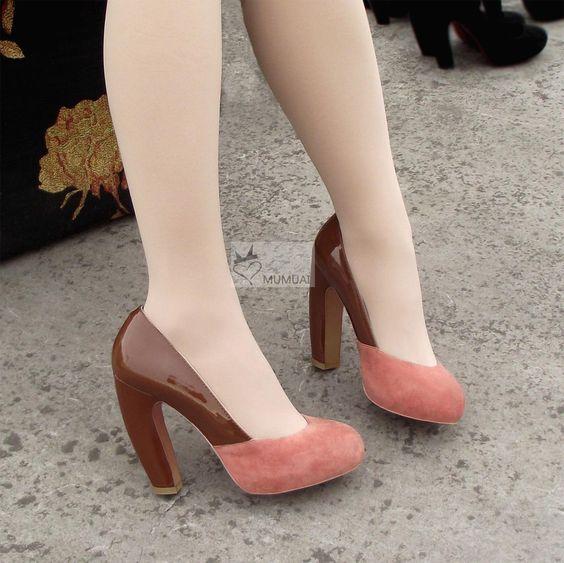 RMB 228 miu春款弯跟高跟鞋香蕉跟真皮单鞋vivi小辣椒女鞋特价包邮-淘宝网