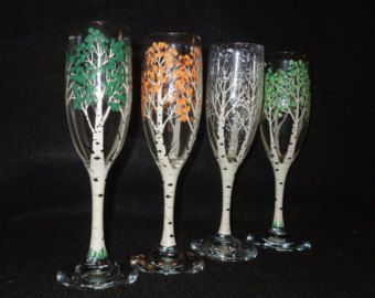 Small (7) red or white glass, hand painted by me with my original cardinal design/winter Aspen tree design.