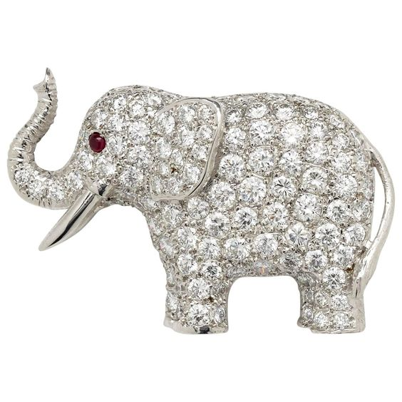 Diamond Elephant brooch by E. WOLFE