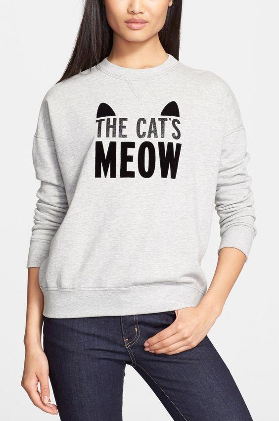 Glitter, velvet, and a little bit of feline sass make this Kate Spade crewneck sweatshirt totally cute.