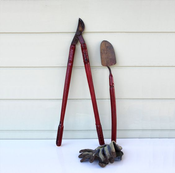 Time for working in the garden! Red Garden Tools Extra Long by AtHomeInNapa on Etsy