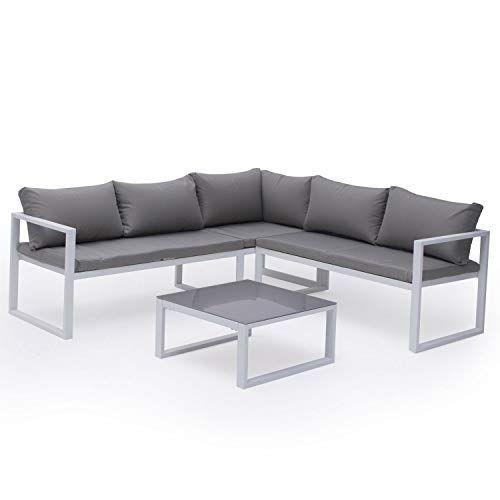 Salon De Jardin Modulable Ibiza En Tissu Gris 4 Places Aluminum Blanc Salon De Jardin Canape Angle Canape 2 Places