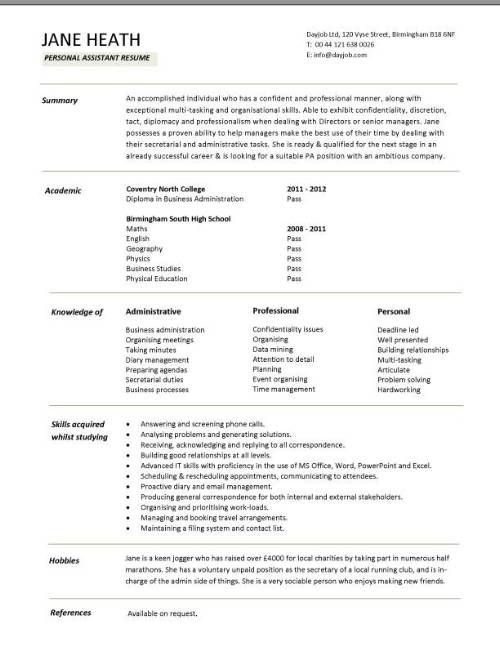Entry Level Resume Template for High School Students     Resume Writing by College Student