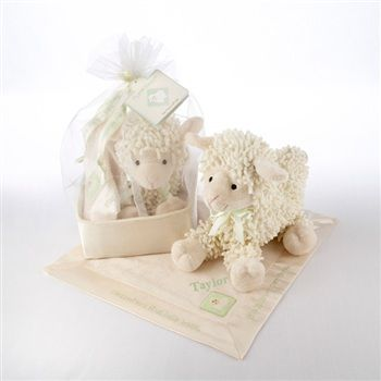 """LOVE EWE"" PLUSH LAMB AND LOVIE GIFT SET IN ORGANZA-AND-SATIN DRAWSTRING BAG"