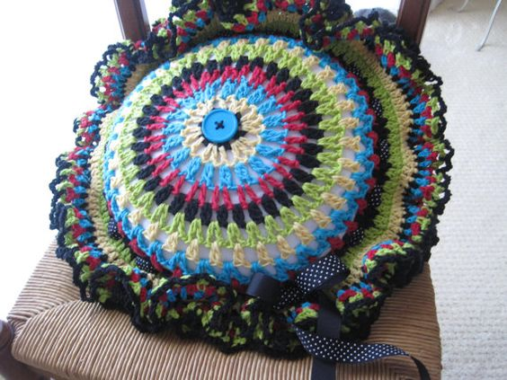 Round Crochet Decorative Pillow Reversible by BlissfullyCrocheted, $50.00