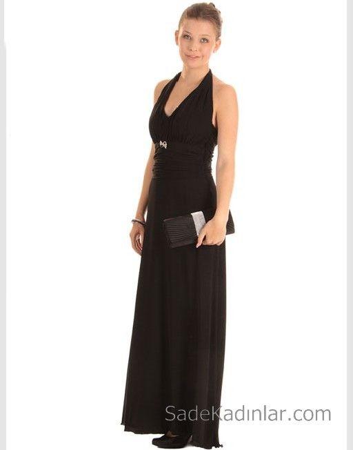 14 Yas Abiye Elbise Siyah Uzun Kalin Askili V Yakali Elbise Moda Stilleri The Dress