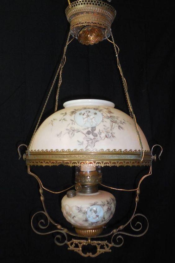 Antique Converted Oil Chandelier Brass Frame Glass W Cherubs
