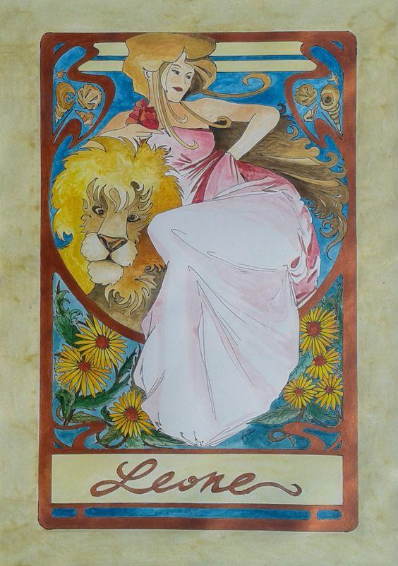 Dipinto eseguito a mano acrilico acquerellato su carta soggetto segno zodiacale LEONE  formato 30 cm x 42 cm. Tecnica: Penna, Acrilico e Acquerello.