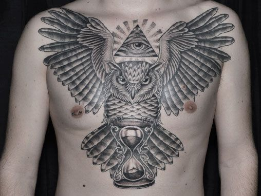 owl chest piece cool tattoos pinterest owl grey and tattoos and body art. Black Bedroom Furniture Sets. Home Design Ideas