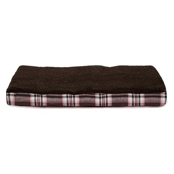 FurHaven Faux Sheepskin and Plaid Deluxe Orthopedic Pet Bed Java Brown - 32242126
