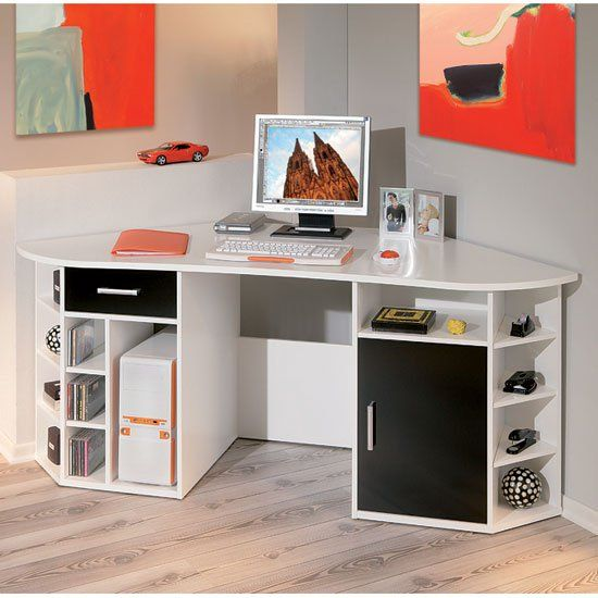 Fabri Wooden Corner Computer Desk In White With Black Door In 2020