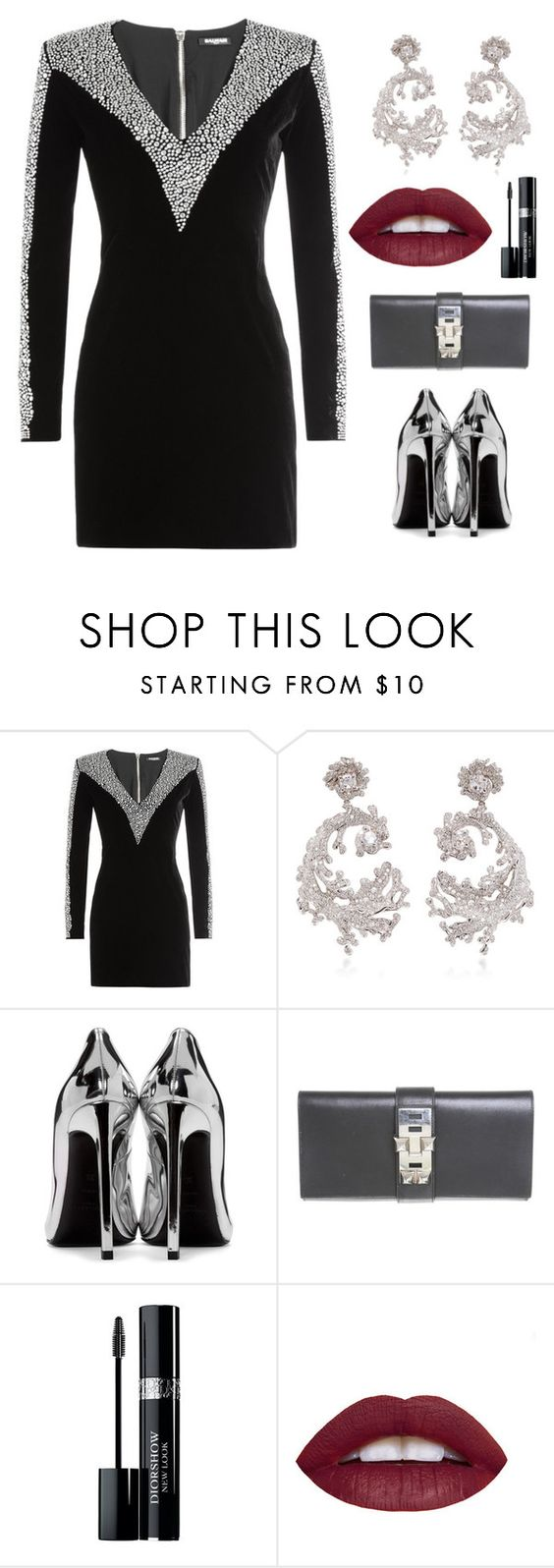 """Party"" by sleeknsheek ❤ liked on Polyvore featuring Balmain, Neha Dani, Yves Saint Laurent, Hermès and Christian Dior"