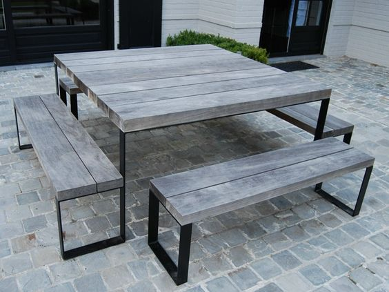 Download the catalogue and request prices of Double g | square table by Cabuy D., square wooden garden table