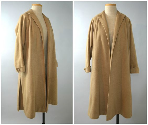 Millie | Vintage 50 Cashmere Swing Coat | 1950s Beige Clutch Coat by RevengeOfTheDress on Etsy