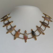 Antique Georgian Early Victorian Sample Agate Pinchbeck Necklace