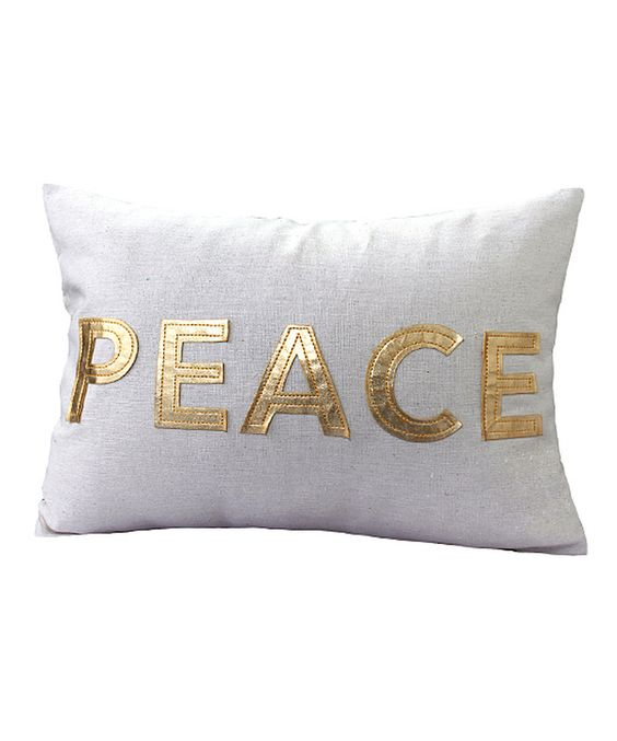 Look at this Gold 'Peace' Linen-Blend Pillow on #zulily today!