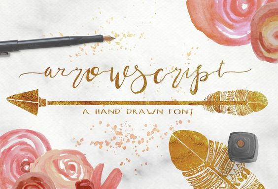 "ArrowScript was lovingly designed to be a natural, loose cursive, mimicking my own writing style. It's a stunning, elegant font designed to be ""imperfectly perfect."" It has alternates for each letter, along with stylish swashes and hand drawn characters to make your projects look hand scripted.This"