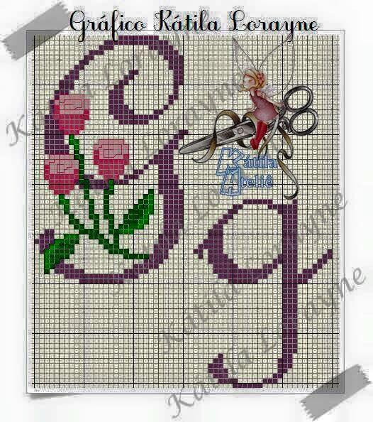 Monograma Botoes De Rosa Em Ponto Cruz 50 Pontos De Altura Ponto