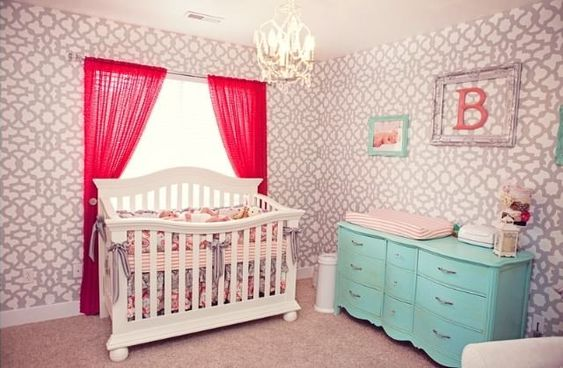 Glam Coral, Turquoise and Gray Nursery - Project Nursery: Turquoise Nursery, Nursery Ideas, Painted Dressers, Baby Nursery, Coral Turquoise, Gray Nursery, Gray Nurseries