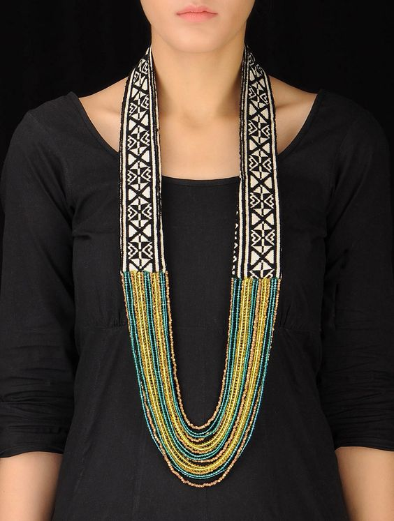 Buy Black Green Yellow Hand Embroidered Toda Necklace Cotton Metal Dokra Beads Crystal Jewelry Fashion Nilgiri Threads Embroidery from Tamil Nadu Online at Jaypore.com